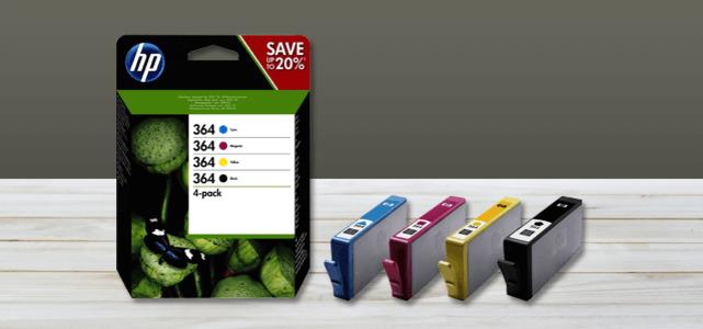 Alle 364 HP cartridges, bijv. 4-pack: van €32,99 voor €24,74