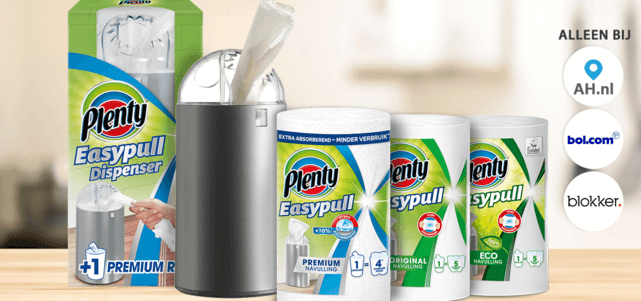 Plenty Easypull dispenser i.c.m. 1 navulrol: €10,- cashback